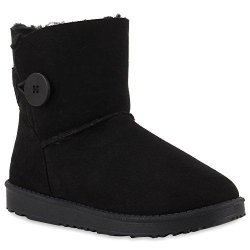 Damen Schlupfstiefel Warm gefütterte Stiefel Glitzer Boots Profilsohle Kunstfell Schuhe Strass Leder-Optik Stiefel Flandell Schwarz Brooklyn