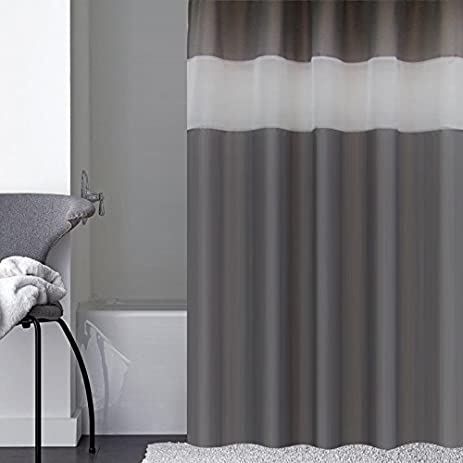 Amazon.com: Dark Gray Shower Curtain Extra Long 72-Inch x 78-Inch ...