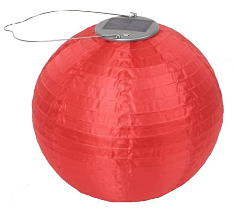 "Allsop Home and Garden Soji Original 10"" Round LED Outdoor Solar Lantern, Handmade with Weather-Resistant UV Treated Nylon, Stainless Steel Hardware, Auto sensor on/off, Chinese Style Globe Light, Red - Allsop Led Solar Lantern"