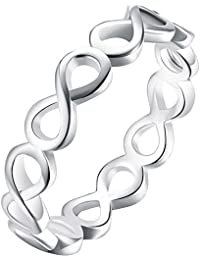 Womens 925 Sterling Silver Plated Polish Infinity Symbol Comfort Fit Eternity Ring Wedding Band Gift