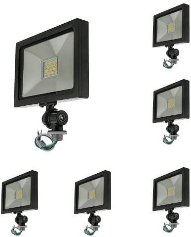 LEDwholesalers Series-5 Ultra-Slim 25W LED Outdoor Security Flood Light Fixture with 1 2 Threaded Knuckle Mount UL-Listed 6-Pack , Daylight 5000K, 3778WHx6