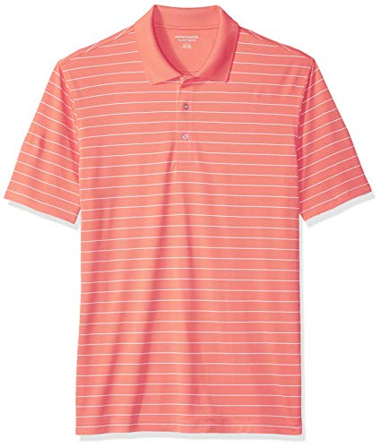 (Amazon Essentials Men's Regular-Fit Quick-Dry Golf Polo Shirt, Coral Stripe, Small )