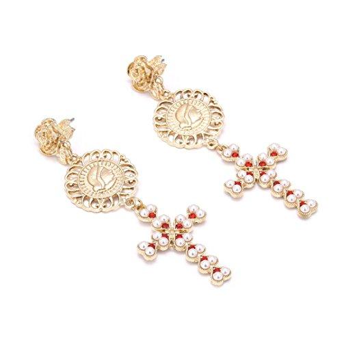 Mr.Macy Hot Sale Fashion Acrylic Artificial Diamond Sun Star Moon Ear Clip Jewelry Tassel Ear Stud Earrings (Gold)