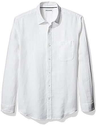 Amazon Essentials Men's Long-Sleeve Linen Shirt, White, Small