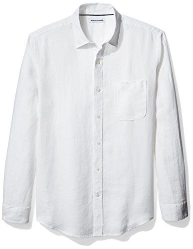 Amazon Essentials Men's Regular-Fit Long-Sleeve Linen Shirt, White, Large by Amazon Essentials