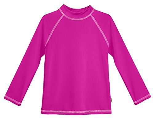 City Threads LS Little Girls' Rashguard Swimming Suit Swim Tshirt Tee UPF50+ Sun Protection for Beach Pool Summer Fun, LS Hot Pink/Pink, 2T