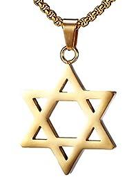 Kamellusone Religion Titanium Steel Six Star Tag Pendant Chain Necklace