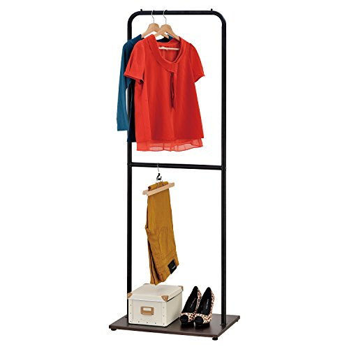 Adjustable Height Single Bar Garment Rack, Metal Pipe Design Clothes Hanger with Wood Base