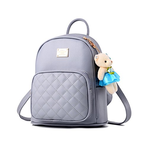 Women Fashion Cute Leather Laides Shopping Bag Casual Backpack Travle Backpack for Girls Light Grey by H&N