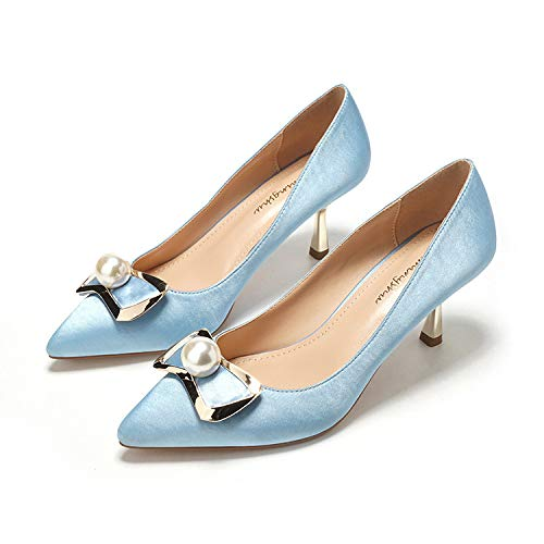 HOESCZS New Pointed Stiletto Shallow Heels Simple Pearl Shallow Stiletto Tone Temperament Single Shoes Fashion Bow Shoes 40|Light Blue ac134b