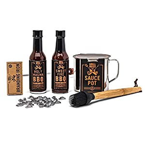 Branded and Grilled: A BBQ Grill Masters Set by Thoughtfully | Includes a Collection of 2 Gourmet Sauces, Sauce Pot, Basting Brush, and Branding Iron