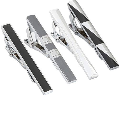 GWD Mens Tie Bar Clip 2.1 Inch, Silver-Tone, Black, Gray (F Style)