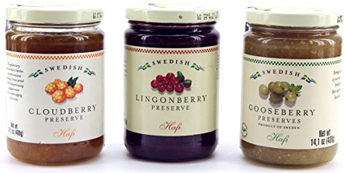 (Hafi Variety Pack Preserves Lingonberry, Wild Cloudberry, Gooseberry 14.1-ounce Jars (Pack of 3))