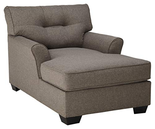 - Ashley Furniture Signature Design - Tibbee Contemporary Chaise - Sleek Tailored Chair - Slate