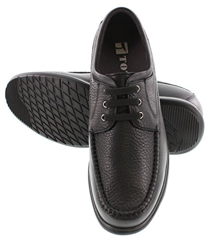 Toto H32051-2.8 Pouces Taller - Hauteur Augmentant Chaussures Dascenseur - Chaussures En Cuir Noir Léger Lacets Légères