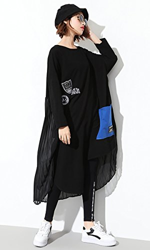 Wicky Ls - Vestido - trapecio - para mujer negro