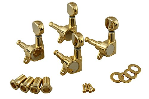 Machine Heads (Lefts Only), Enclosed Gear, Gold Finish, Four Pack by Folkcraft Custom