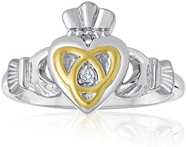 Ladies Two Tone Claddagh Ring with Triquerta Symbol In Sterling Silver
