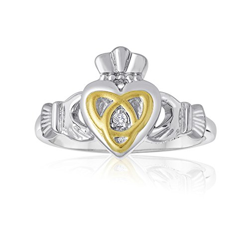 (Esty & Me Ladies Two Tone Claddagh Ring with Triquerta Symbol in Sterling Silver - Size 8)