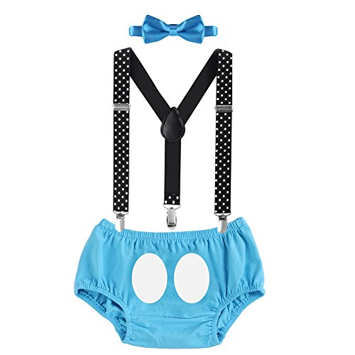 (Cake Smash Mickey Outfit Baby Boy First Birthday Party Bottoms Bowtie Y-Back Suspenders Photography Props Bottoms Bowtie Suspenders 3pcs Clothes Set Briefs & Blue 12-18)