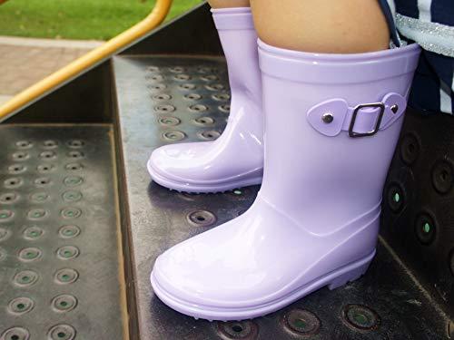 Pictures of MOFEVER Toddler Girls Kids Rain Boots Waterproof MFULP18BPUR10 2
