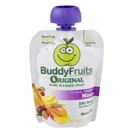 Buddy Fruits Original Pure Blended Fruit Banana, Passion & Mango (Pack of 16) (Blended Mango Fruit)