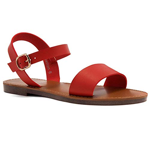 Herstyle Women's Keetton Open Toes One Band Ankle Strap Flat Sandals Red 6.5