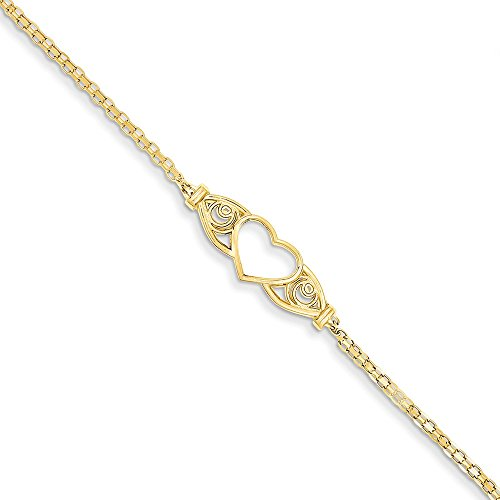 14K Gold Polished Antiqued Heart Anklet 10 Inches - Antiqued Gold Bracelet