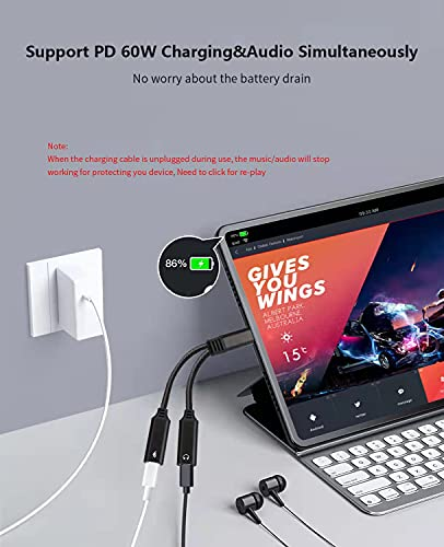 USB C Splitter, Mxcudu 2 in 1 USB C Headphone and Charging Adapter, Dual USB C Audio Dongle with 60W PD Fast Charging Support Music Call for Pixel 5/4/3/2XL, Galaxy S21/S21 Ultra/S20FE/Note 20