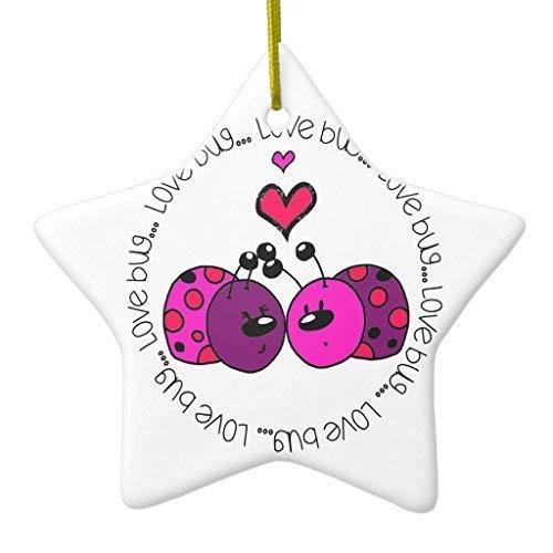 Love Bug Keepsake - 659ParkerRob Christmas Ornaments, Valentine Love Bug Star Ceramic Christmas Ornaments Christmas Tree Decoration, Keepsake, Couples