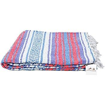Mexican Blanket - Pastel Vintage Boho Colors. Great Yoga Blanket, Beach Blanket, Picnic Blanket, or a Throw! Handmade -- White Purple Coral & Blue