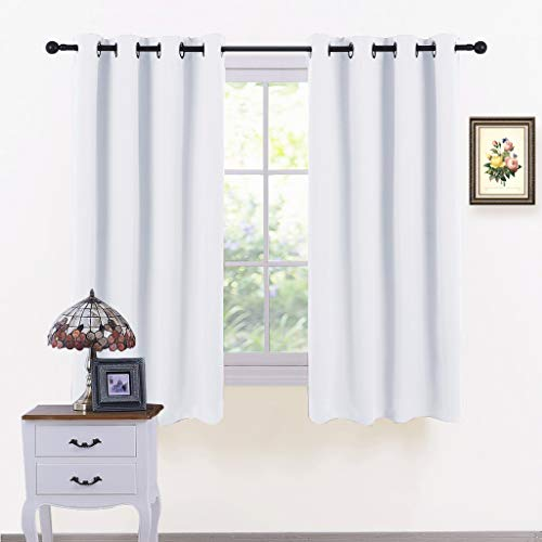 (PONY DANCE Window Curtains Decoration - Thermal Insulated All Seasons Grommet Top Curtain Drapes Window Draperies Panels Noise Reducing for Bedroom, 52 by 54 Inches, Pure White, 2 Pcs )
