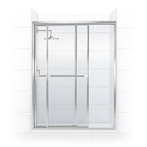 Coastal Shower Doors 1846.70B-C Paragon Series Framed Sliding Shower Door with Towel Bar in Clear Glass 46
