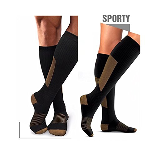 HIGHCAMP 3PK Copper Compression Knee High Recovery Support Socks- Best Copper Infused Fit Sock for Men and Women Running, Calf, Diabetic, Swelling, Shin Splints. Shoe Size 4-11, Bag Pack 3 Pairs