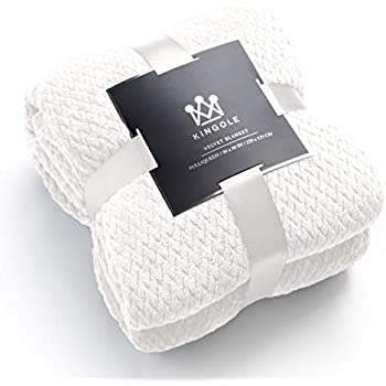 Kingole Flannel Fleece Luxury Throw Blanket, Cream White Twin Size Jacquard Weave Pattern Cozy Couch/Bed Super Soft and Warm Plush Microfiber 350GSM (66 x 90 inches)