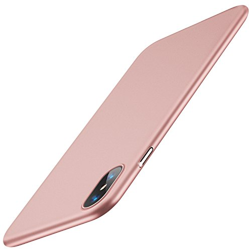 TORRAS Slim Fit iPhone Xs Case/iPhone X Case, Hard Plastic PC Super Thin Mobile Phone Cover Case with Matte Finish Coating Grip Compatible with iPhone, Rose Gold (Best Case For Gold Iphone)