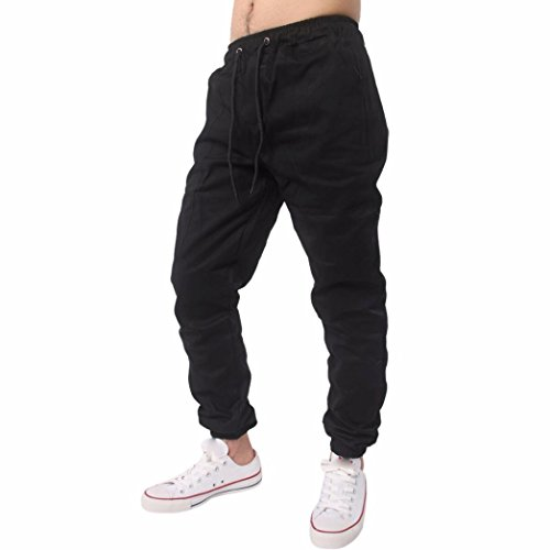 Price comparison product image kaifongfu Men Trousers, Men Harem Sweatpants Slacks Casual Jogger Sportwear Baggy Comfy Pant (XL, Black)