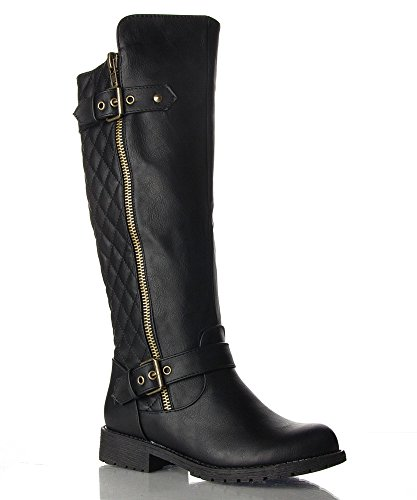 RF ROOM OF FASHION Vivienne-02 Motorcycle Boots (Black PU Size 7)