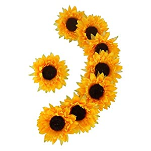HOMDECO Artificial Silk Sunflower Heads for Wedding Home Party Decoration Bride Holding Flowers Garden Craft Art Wreath Decorative 99