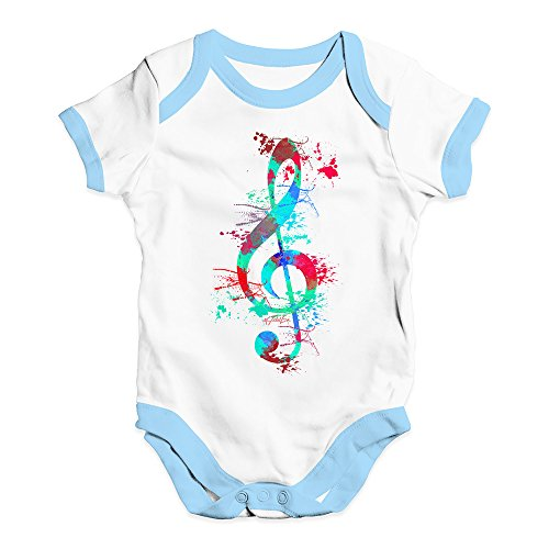 Treble Clef Paint - Babygrow Baby Romper Treble Clef Paint Splats Baby Unisex Baby Grow Bodysuit 0-3 Months White Blue Trim