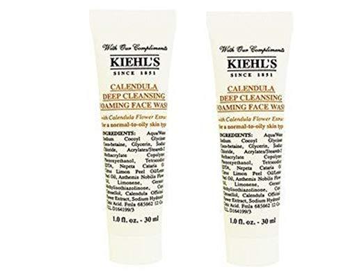 (Kiehls Calendula Deep Cleansing Foaming Face Wash Travel Size, Set of 2, Total 2oz/60ml)