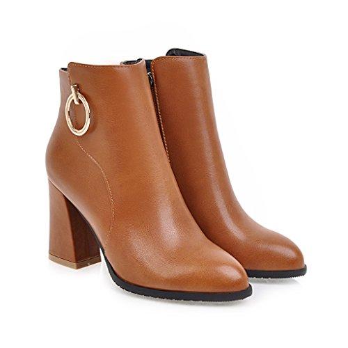 BalaMasa Womens Kitten-Heels Zipper Pointed-Toe Solid Chunky Heels Urethane Boots ABL09652 Yellow tiMOp6I