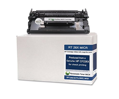 RT 26X CF226X Modified MICR Toner Cartridge High Yield for Check Printing on LaserJet M402d, M426 printer series by Renewable Toner