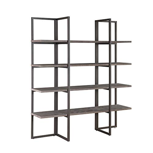 "Zeke 60"" Bookcase in Rocky Mountain Gray with Four Wood Shelves And Metal Frame, by Artum Hill"