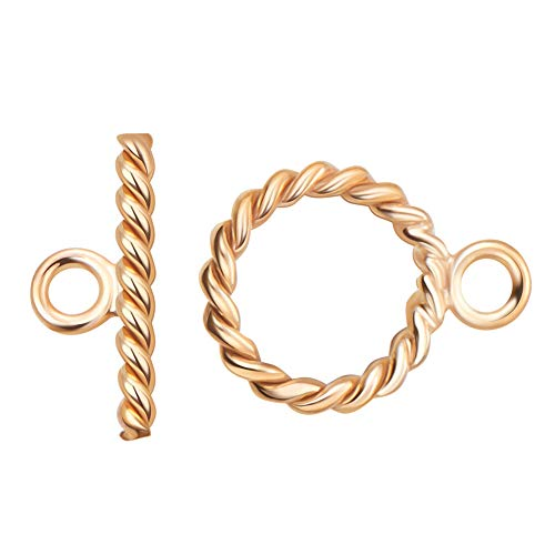 - BENECREAT 2 Sets 14K Gold Filled Toggle Clasp Spiral Rope Toggle Clasp for Necklace Bracelet Jewelry Making - 12x9mm