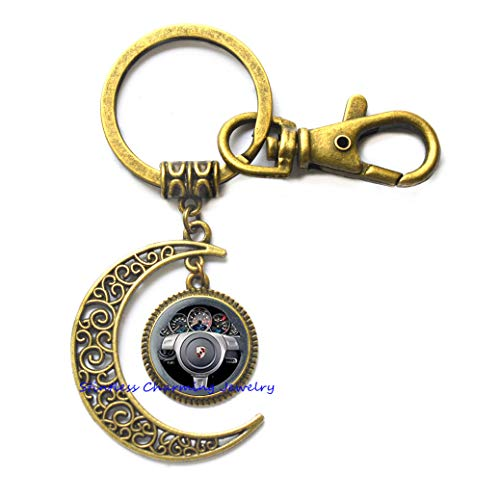 Steering Wheel Moon Keychain Wheel Moon Keychain Wedding Moon Keychain Summer Moon Keychain Steering Wheel Jewelry Beach Jewelry,Photo Key Ring Art Key Ring Photo jewelry-JP330 (Steering Wheel Keychain Ring)