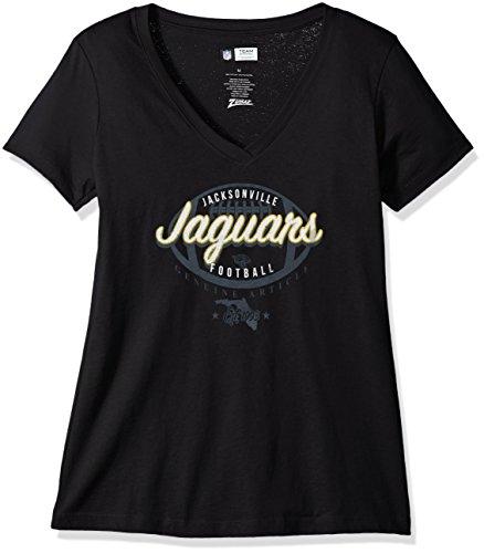 (Zubaz NFL Jacksonville Jaguars Women's V-Neck Tee, X-Large, Black )