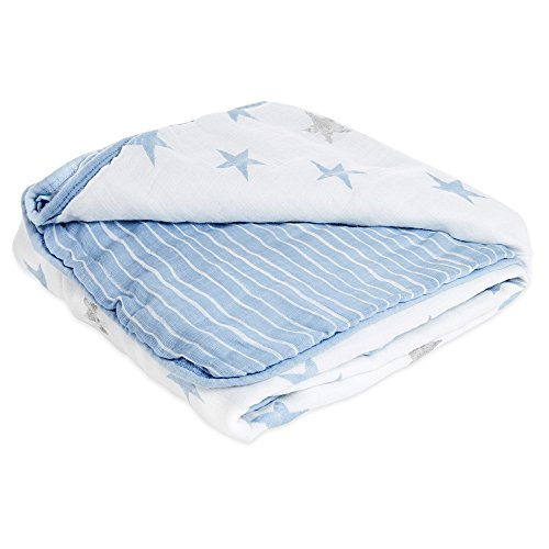 aden by aden + anais Muslin Blanket, 100% Cotton Muslin, 4 Layer Lightweight and Breathable, Large 44 X 44 inch, Dapper - Stars