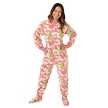 Pink Camouflage Fleece Adult Footed Pajamas with Drop Seat