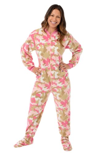 Big Feet Pjs Pink Camo Micro-Polar Fleece Adult Footed PJs w/Drop Seat (XL)